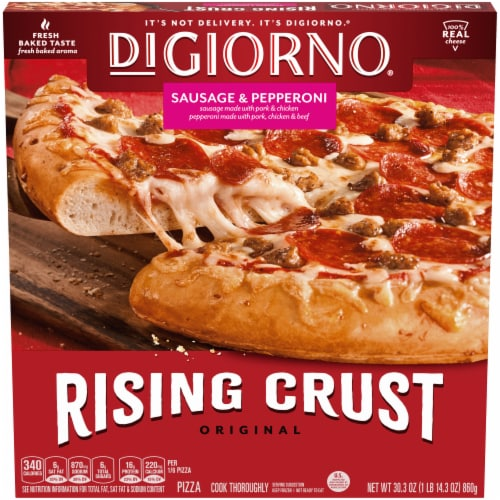 DIGIORNO Sausage & Pepperoni Frozen Pizza on a Rising Crust Perspective: front