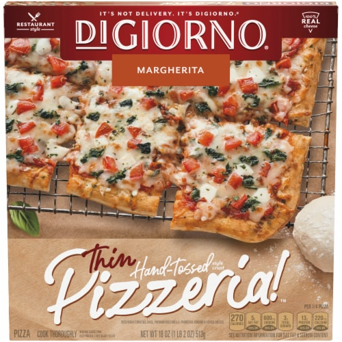 DiGiorno Pizzeria! Hand-Tossed Thin Crust Margherita Frozen Pizza Perspective: front