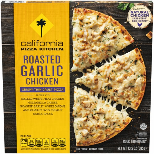 California Pizza Kitchen Roasted Garlic Chicken Crispy Thin Crust Pizza Perspective: front