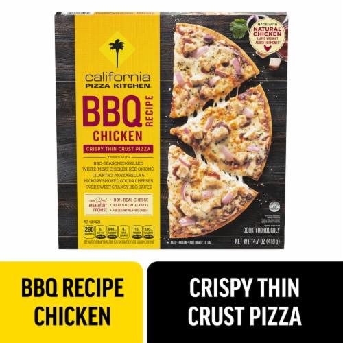 California Pizza Kitchen BBQ Chicken Recipe Crispy Thin Crust Pizza Perspective: front