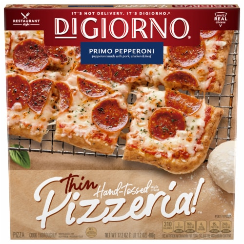 DiGiorno Pizzeria! Thin Crust Primo Pepperoni Frozen Pizza Perspective: front