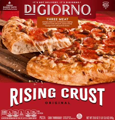 DIGIORNO Three Meat Frozen Pizza on a Rising Crust Perspective: front