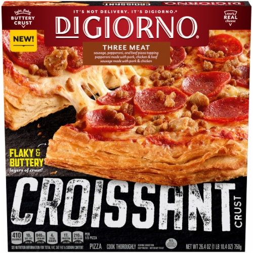 DIGIORNO Three Meat Frozen Pizza on a Croissant Crust Perspective: front