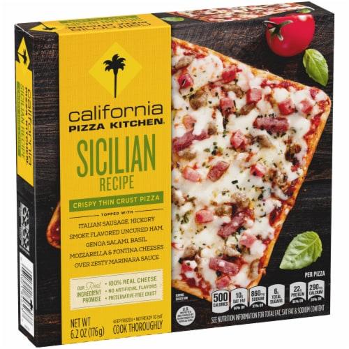 California Pizza Kitchen Sicilian Recipe Single Serve Thin Crust Pizza Perspective: front