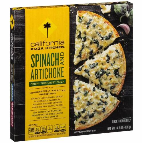 California Pizza Kitchen Spinach U0026 Artichoke Crispy Thin Crust Frozen Pizza  Perspective: Front