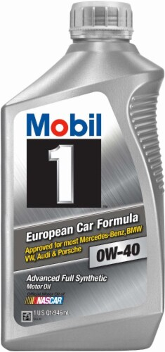 Mobil 1 European Car Formula 0W-40 SAE Advanced Full Synthetic Motor Oil Perspective: front