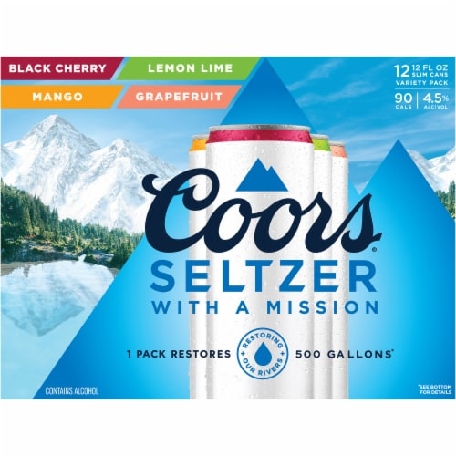 Coors Seltzer with a Mission Variety Pack 12 Cans Perspective: front