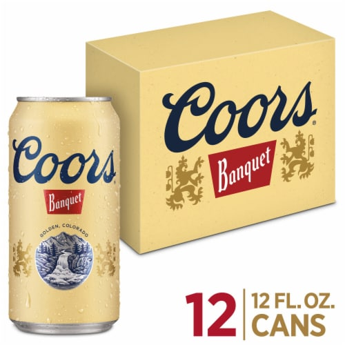 Coors Banquet Lager Beer 12 Cans Perspective: front