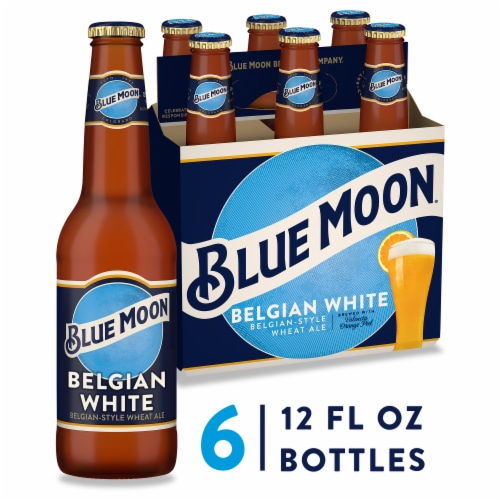 Blue Moon Belgian White Wheat Ale Beer Perspective: front