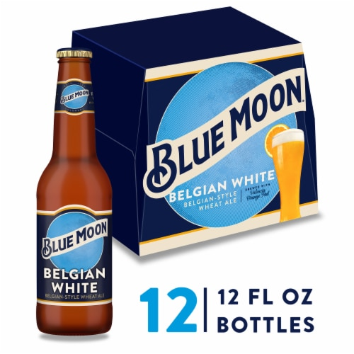Blue Moon Belgian White Belgian Style Wheat Ale Beer 12 Bottles Perspective: front