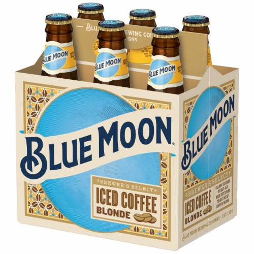 Blue Moon Iced Coffee Blonde Wheat Ale Beer Perspective: front