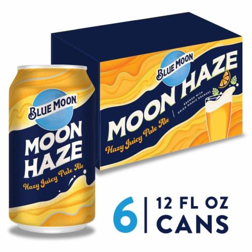 Blue Moon® Moon Haze Hazy Juicy Pale Ale Beer Perspective: front