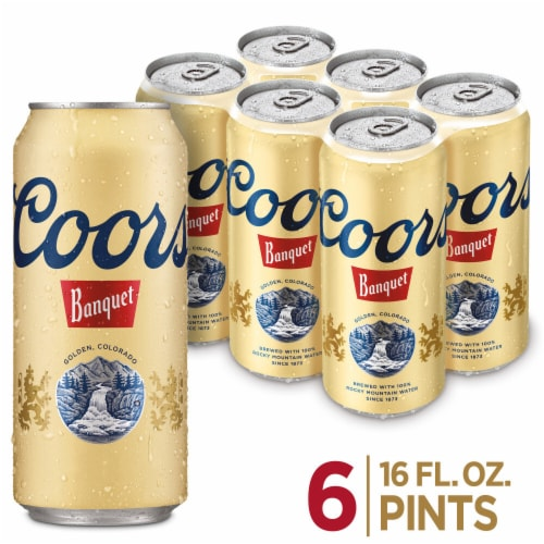 Coors Banquet Lager Beer 6 Cans Perspective: front