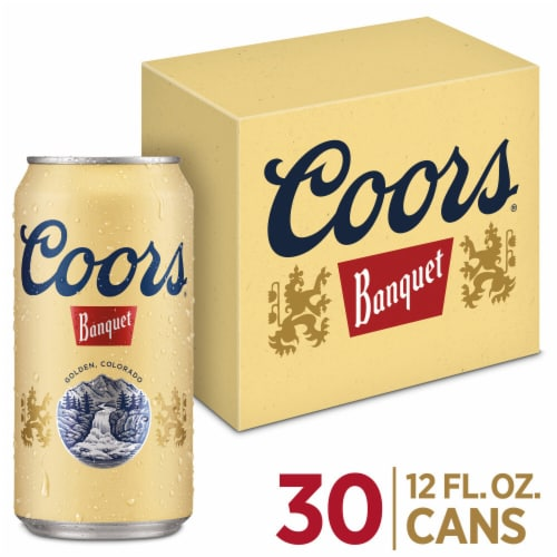 Coors Banquet Lager Beer 30 Cans Perspective: front