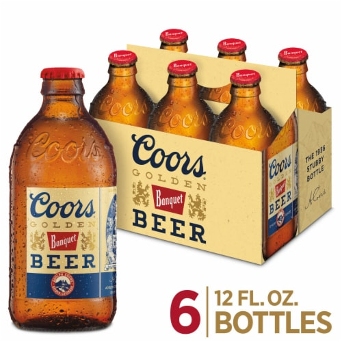 Coors Banquet Lager Beer 6 Bottles Perspective: front