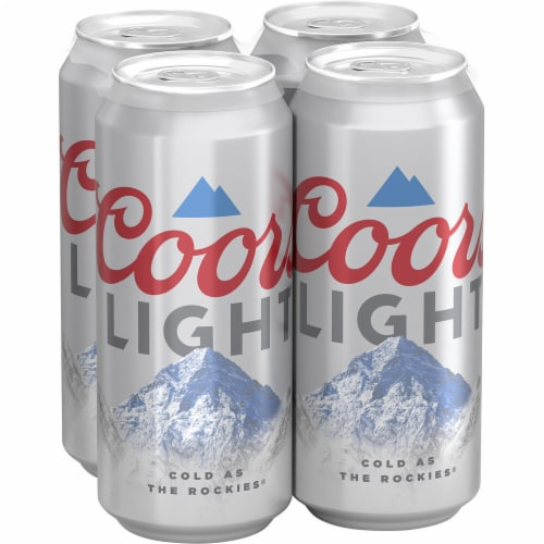Coors Light American Light Lager Beer 4 Count Perspective: front