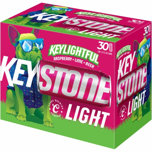 Keystone Light Keylightful Raspberry Lime Beer 30 Cans Perspective: front