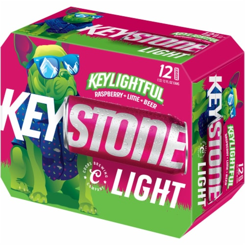 Keystone Light Keylightful Raspberry Lime Beer Perspective: front