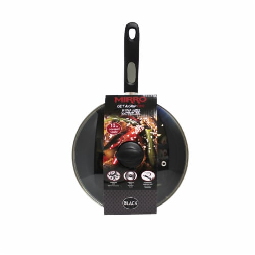 Mirro Get A Grip Nonstick Covered Skillet - Black Perspective: front