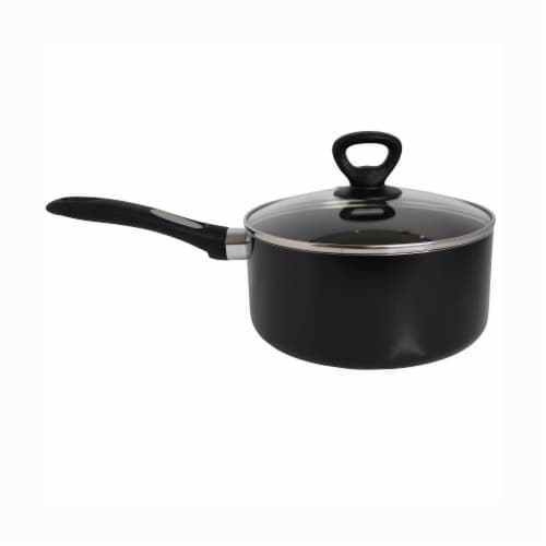 Mirro Get A Grip Nonstick Covered Saucepan - Black Perspective: front