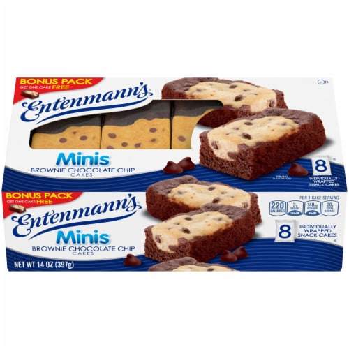 Entenmann's Brownie Chocolate Chip Mini Cakes 8 Count Perspective: front