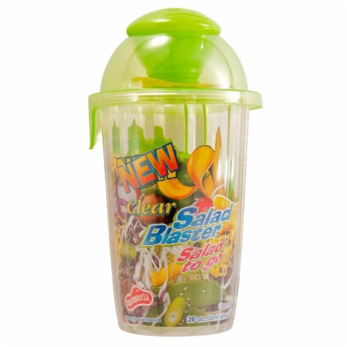 Clear Salad Blaster Cup 26oz Salad to Go, 2oz Dressing Portion Control, Green Perspective: front