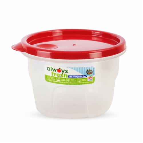 Compac Home Always Fresh Food Storage Container - Cylinder Bowl - 16oz Red Chef Perspective: front