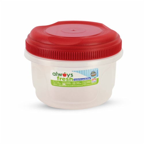 Compac Home Always Fresh Food Storage Hi-Top Cylinder Container 16oz Red Chef Perspective: front