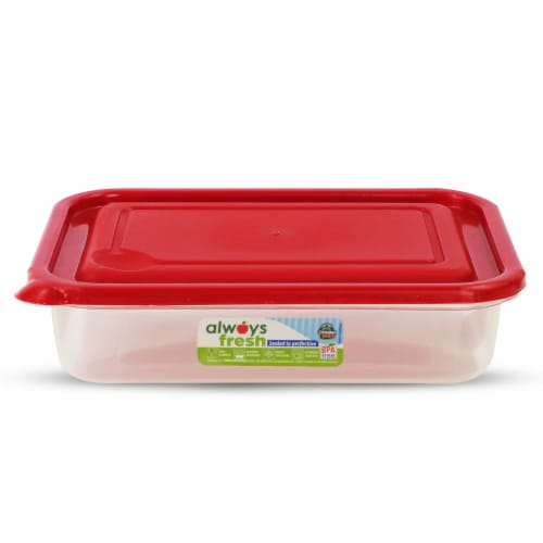 Compac Home Always Fresh Food Storage Rectangular Bowl - 14oz Red Chef Perspective: front