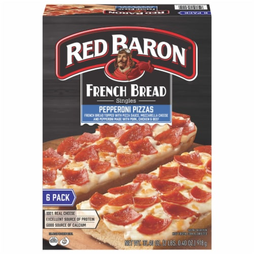 Red Baron Singles French Bread Pepperoni Pizzas Perspective: front