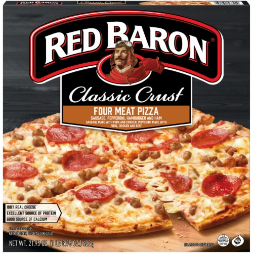 Red Baron Classic Crust Four Meat Pizza Perspective: front