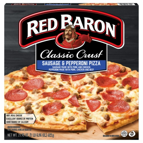 Red Baron Classic Crust Sausage & Pepperoni Pizza Perspective: front