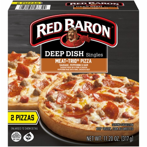 Red Baron Meat-Trio Deep Dish Singles Pizza Perspective: front