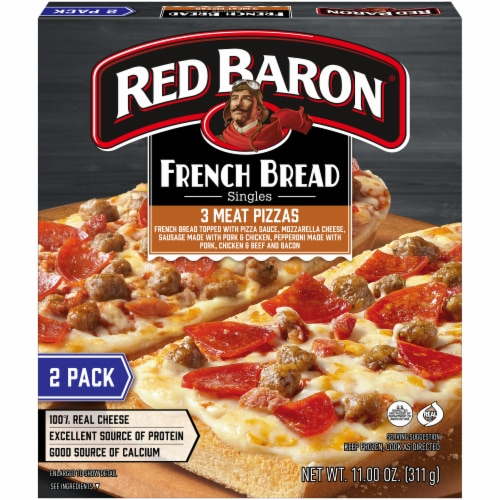 Red Baron Singles French Bread 3-Meat Pizzas Perspective: front