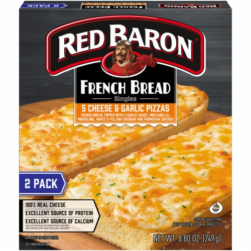 Red Baron Singles French Bread 5 Cheese and Garlic Pizza Perspective: front