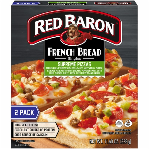 Red Baron Singles French Bread Supreme Pizzas Perspective: front