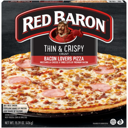 Red Baron Thin and Crispy Bacon Lovers Pizza Perspective: front