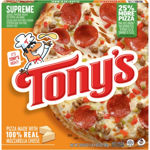 Tony's Pizzeria Style Supreme Frozen Pizza Perspective: front