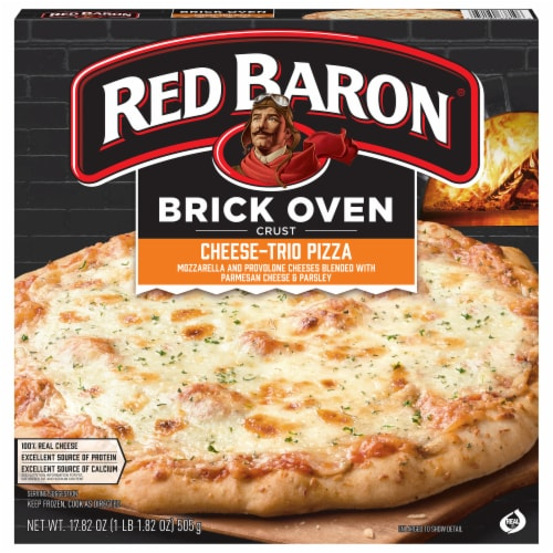 Red Baron Brick Oven Crust Cheese Trio Pizza Perspective: front