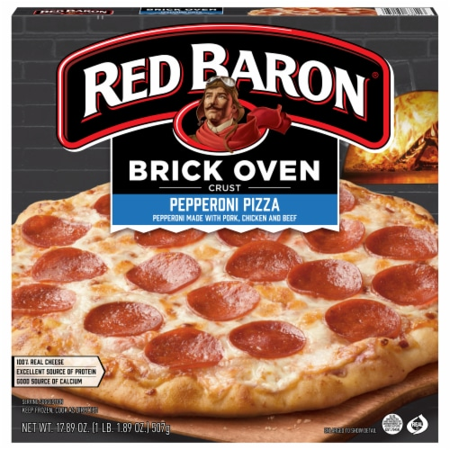 Red Baron Brick Oven Crust Pepperoni Pizza Perspective: front