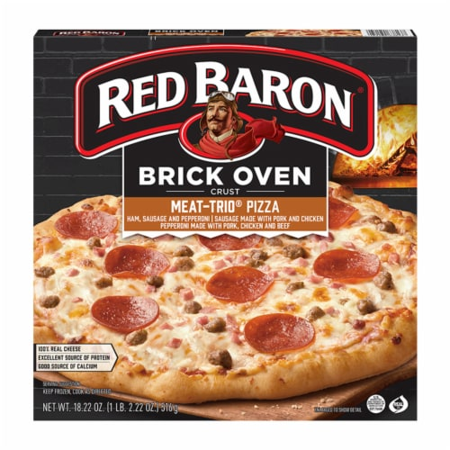 Red Baron Brick Oven Crust Meat-Trio Pizza Perspective: front