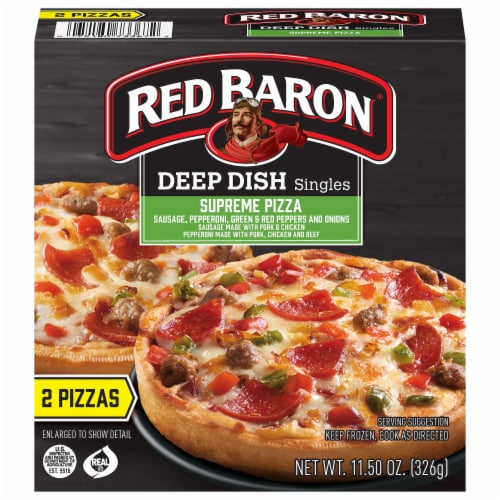 Red Baron Singles Deep Dish Supreme Pizza Perspective: front