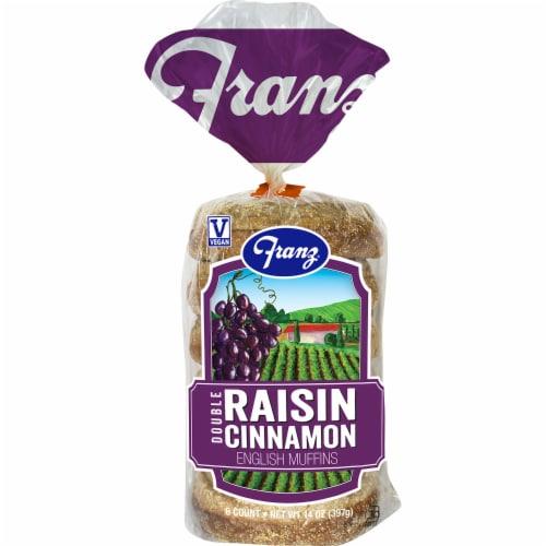 Franz Double Raisin Cinnamon English Muffins Perspective: front