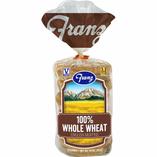 Franz 100% Whole Wheat English Muffins 6 Count Perspective: front