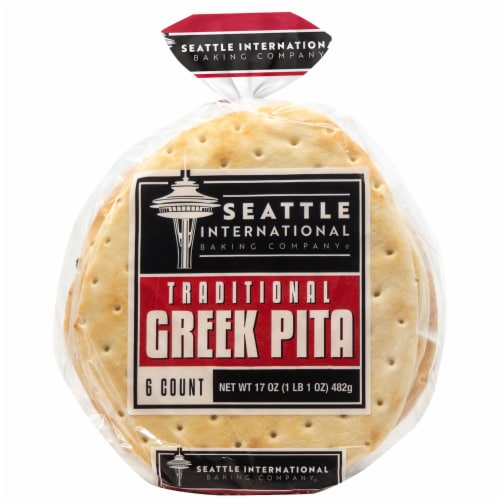 Seattle International Baking Company Traditional Greek Pita Bread Perspective: front