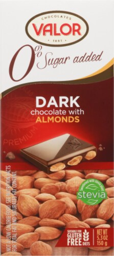 Valor Dark Chocolate with Almonds Bar Perspective: front