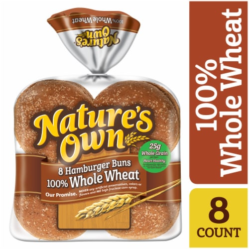 Nature's Own® 100% Whole Wheat Hamburger Buns Perspective: front