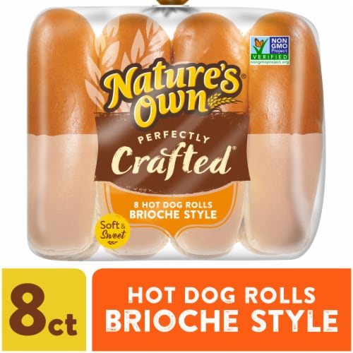 Nature's Own Perfectly Crafted Brioche Style Hot Dog Buns 8 Count Perspective: front