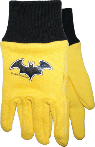 Midwest Quality Gloves Batman Kids' Jersey Gloves - Yellow/Black Perspective: front