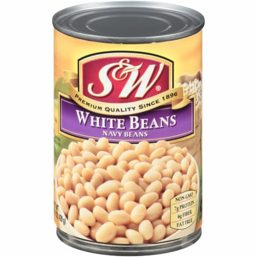 S&W White Beans in Light Seasoning Perspective: front